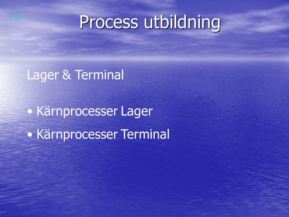 Process utbildning Lager & Terminal Kärnprocesser Lager Kärnprocesser Terminal MLH