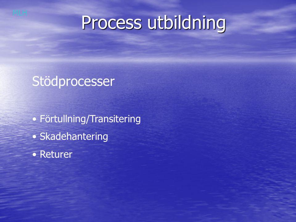 Process utbildning Stödprocesser Förtullning/Transitering Skadehantering Returer MLH