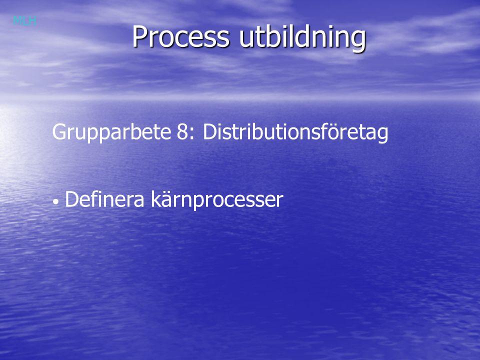 Process utbildning Grupparbete 8: Distributionsföretag Definera kärnprocesser MLH