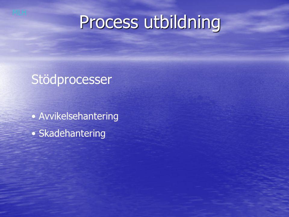 Process utbildning Stödprocesser Avvikelsehantering Skadehantering MLH