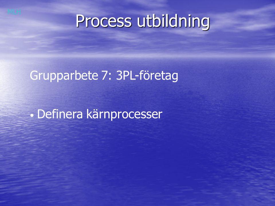 Process utbildning Grupparbete 7: 3PL-företag Definera kärnprocesser MLH