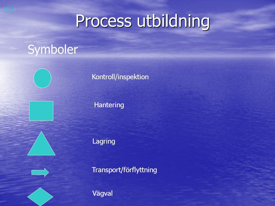 Process utbildning Symboler Kontroll/inspektion Hantering Lagring Transport/förflyttning Vägval MLH
