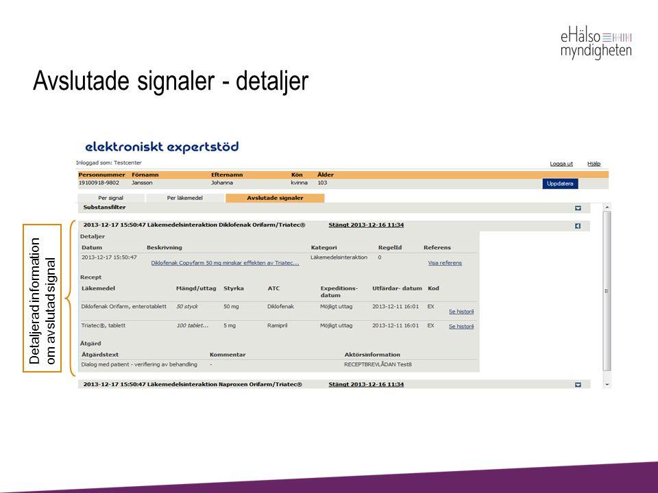 Avslutade signaler - detaljer Detaljerad information om avslutad signal