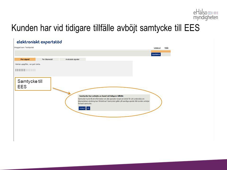 Kunden har vid tidigare tillfälle avböjt samtycke till EES Samtycke till EES