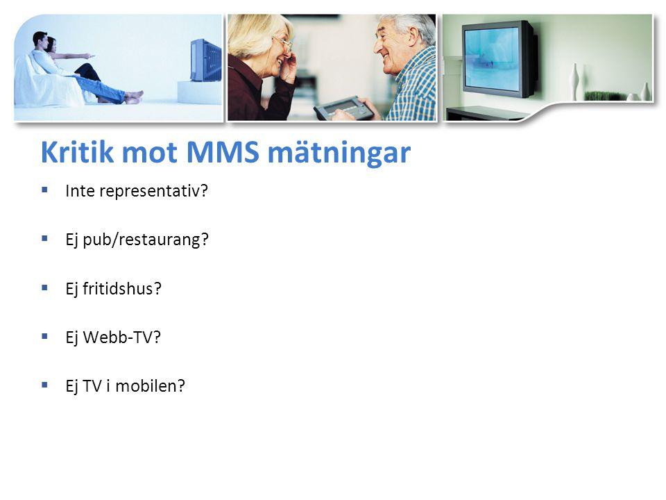 Kritik mot MMS mätningar  Inte representativ.  Ej pub/restaurang.