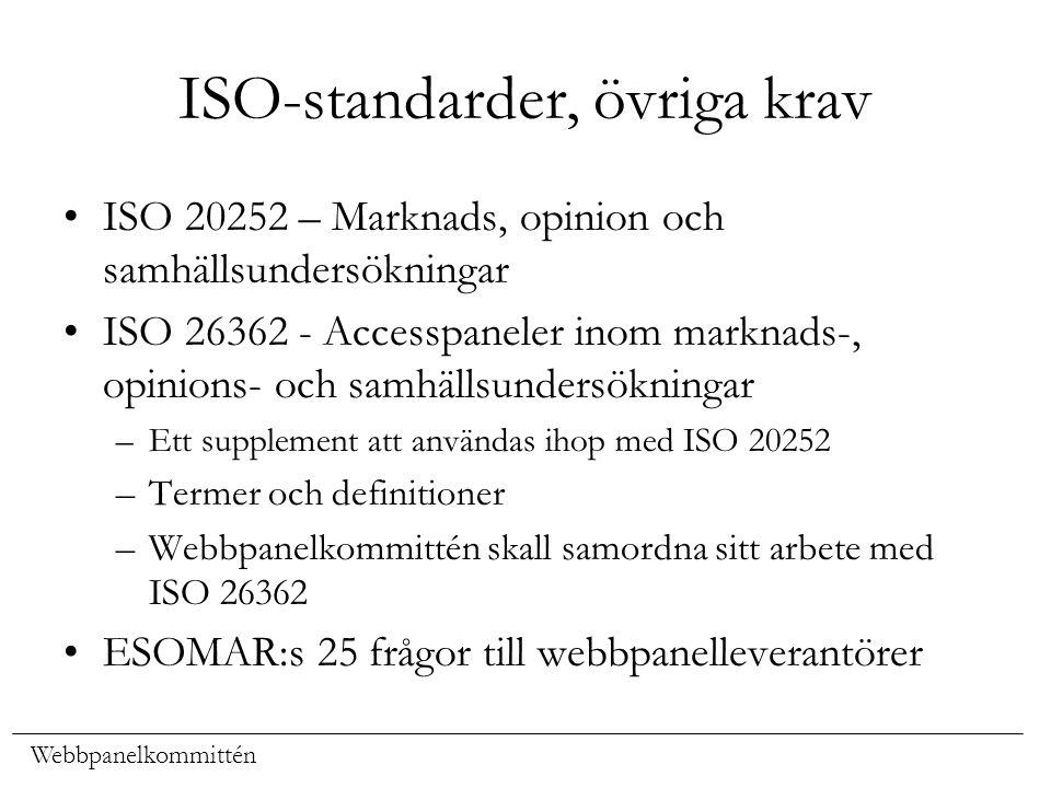 Webbpanelkommittén ISO-standarder, övriga krav ISO 20252 – Marknads, opinion och samhällsundersökningar ISO 26362 - Accesspaneler inom marknads-, opin