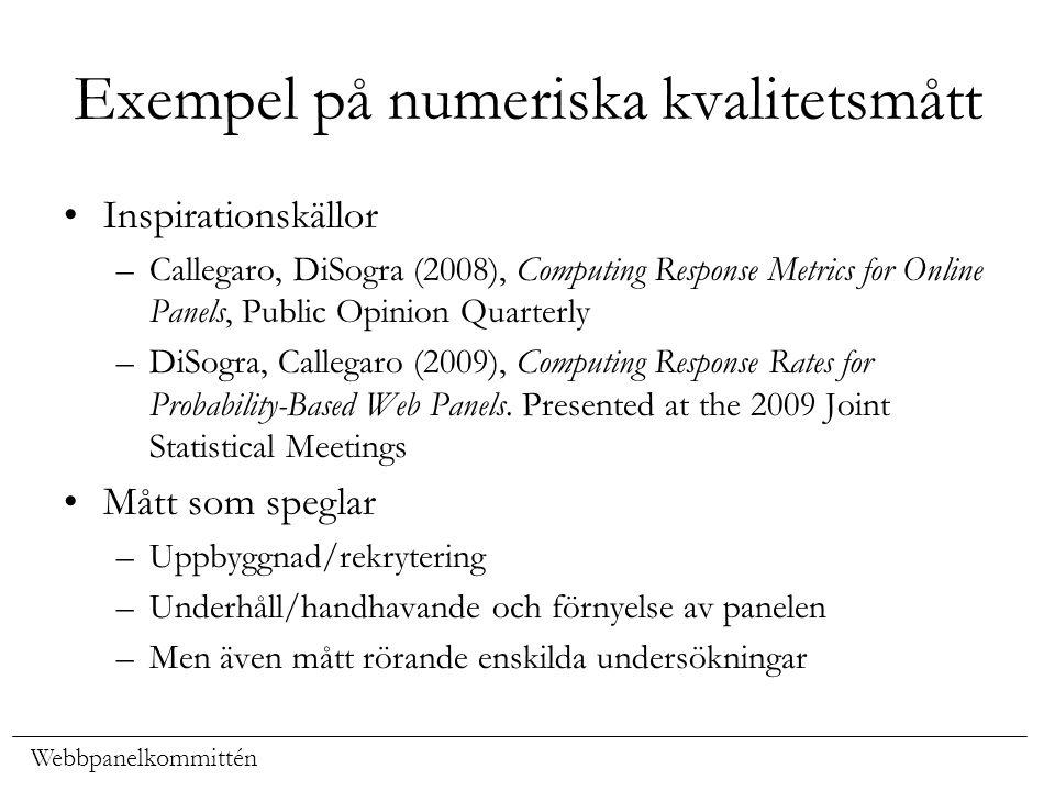 Webbpanelkommittén Exempel på numeriska kvalitetsmått Inspirationskällor –Callegaro, DiSogra (2008), Computing Response Metrics for Online Panels, Pub
