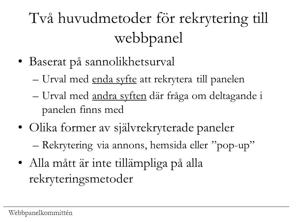 Webbpanelkommittén Två huvudmetoder för rekrytering till webbpanel Baserat på sannolikhetsurval –Urval med enda syfte att rekrytera till panelen –Urva