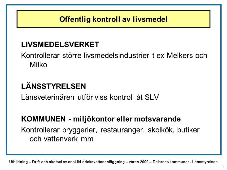 Utbildning – Drift och skötsel av enskild dricksvattenanläggning – våren 2009 – Dalarnas kommuner - Länsstyrelsen Lagstiftningens uppbyggnad EU – förordningar t ex EU-förordning nr 178/2002 - innehåller grundläggande krav för all livsmedelshantering Livsmedelslagen (LL) (SFS 2006.804) Livsmedelsförordningen (SFS 2006:813) kompletterar EU –förordningarna Föreskrifter Vissa EU-regler samlas i föreskrifter t ex Dricksvattenföreskrifterna 2001:30 2