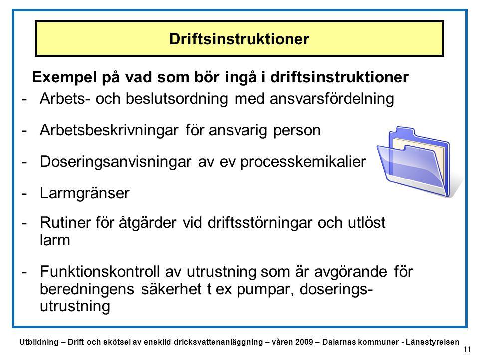 Utbildning – Drift och skötsel av enskild dricksvattenanläggning – våren 2009 – Dalarnas kommuner - Länsstyrelsen Driftsinstruktioner Exempel på vad s