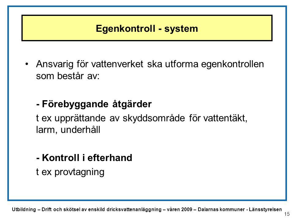 Utbildning – Drift och skötsel av enskild dricksvattenanläggning – våren 2009 – Dalarnas kommuner - Länsstyrelsen Egenkontroll - system Ansvarig för v