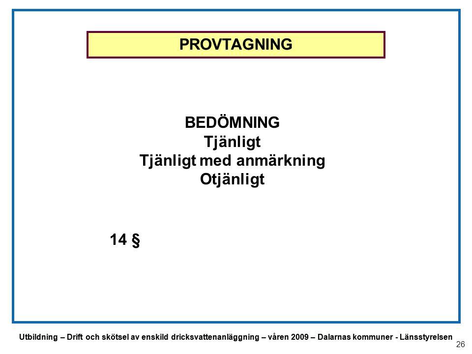 Utbildning – Drift och skötsel av enskild dricksvattenanläggning – våren 2009 – Dalarnas kommuner - Länsstyrelsen BEDÖMNING Tjänligt Tjänligt med anmä