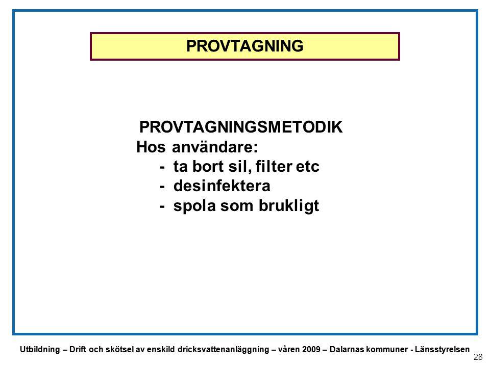 Utbildning – Drift och skötsel av enskild dricksvattenanläggning – våren 2009 – Dalarnas kommuner - Länsstyrelsen PROVTAGNINGSMETODIK Hos användare: -