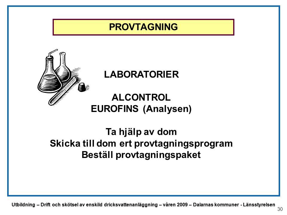 Utbildning – Drift och skötsel av enskild dricksvattenanläggning – våren 2009 – Dalarnas kommuner - Länsstyrelsen PROVTAGNING LABORATORIER ALCONTROL E