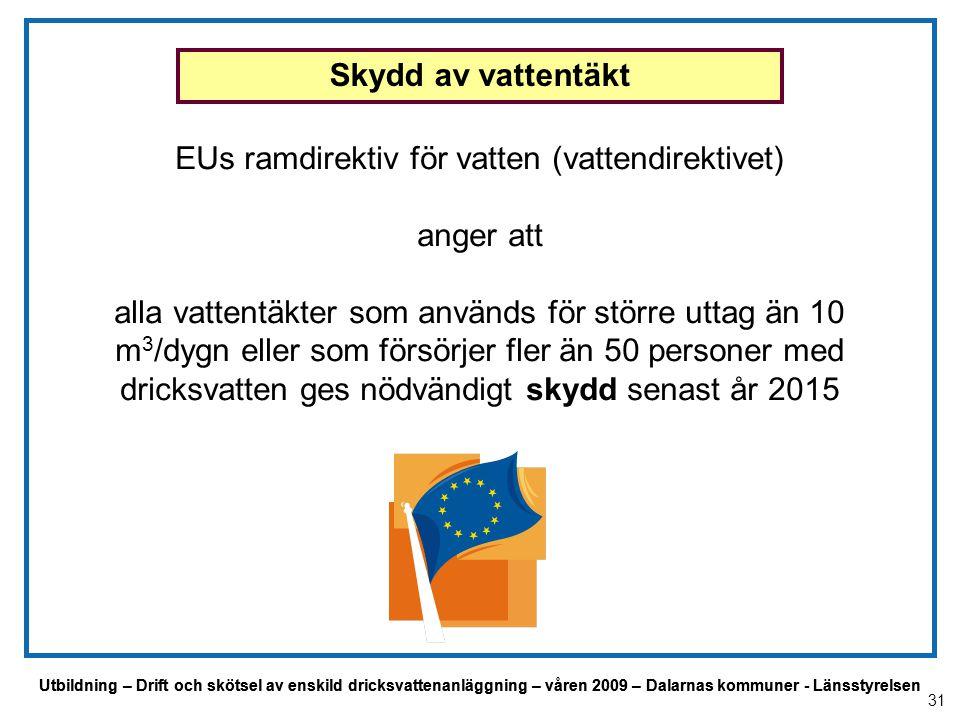 Utbildning – Drift och skötsel av enskild dricksvattenanläggning – våren 2009 – Dalarnas kommuner - Länsstyrelsen EUs ramdirektiv för vatten (vattendi