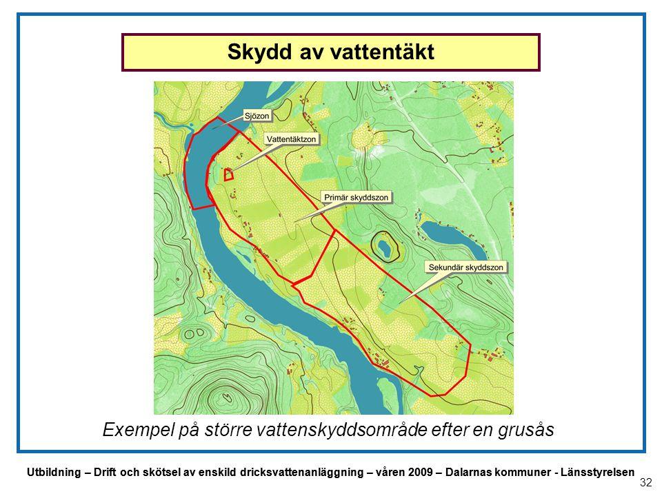 Utbildning – Drift och skötsel av enskild dricksvattenanläggning – våren 2009 – Dalarnas kommuner - Länsstyrelsen Exempel på större vattenskyddsområde