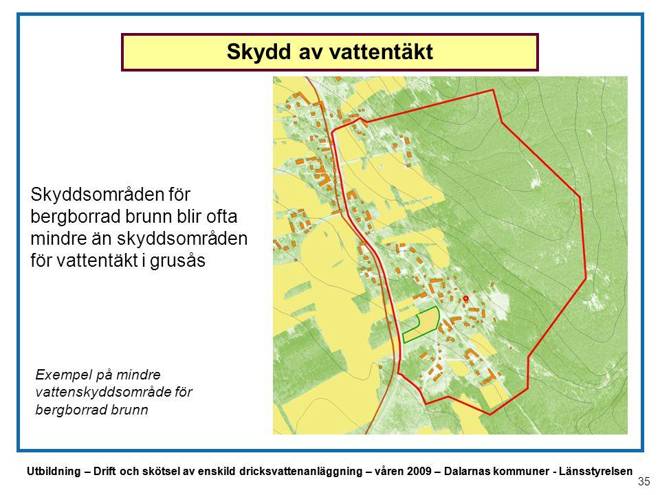 Utbildning – Drift och skötsel av enskild dricksvattenanläggning – våren 2009 – Dalarnas kommuner - Länsstyrelsen Exempel på mindre vattenskyddsområde
