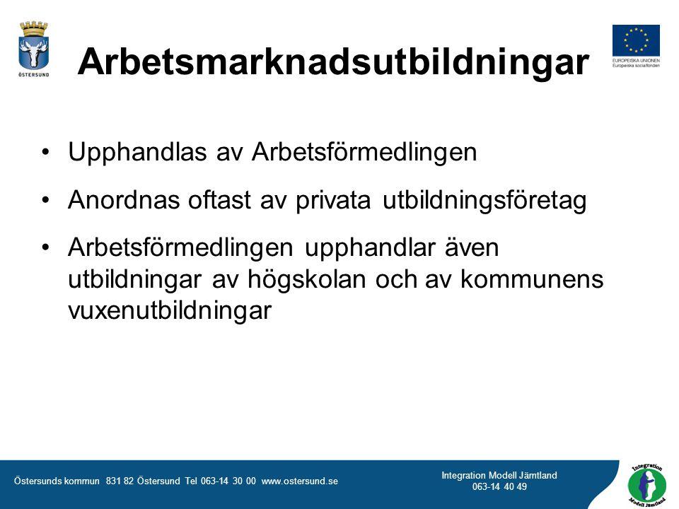 Östersunds kommun 831 82 Östersund Tel 063-14 30 00 www.ostersund.se Integration Modell Jämtland 063-14 40 49 Upphandlas av Arbetsförmedlingen Anordna