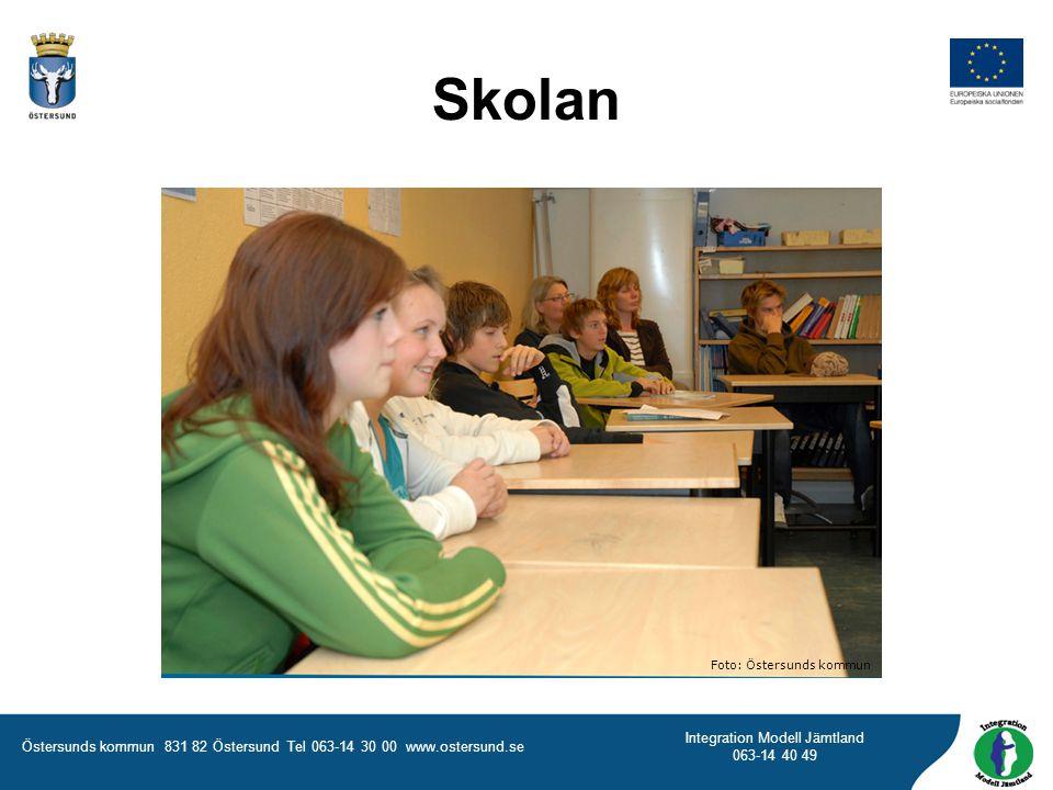Östersunds kommun 831 82 Östersund Tel 063-14 30 00 www.ostersund.se Integration Modell Jämtland 063-14 40 49 Foto: Östersunds kommun Skolan
