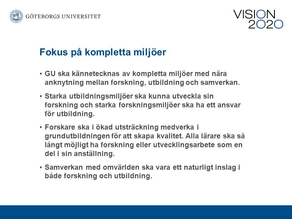 Preliminära slutsatser Göteborgs universitet ska vidareutveckla mötesplatser, t ex centrumbildningar, som samlar kompetenser från olika områden i samverkan med omvärlden.