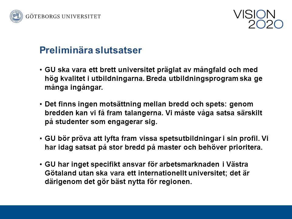Preliminära slutsatser Göteborgs universitets starka forskningsområden ska utvecklas.