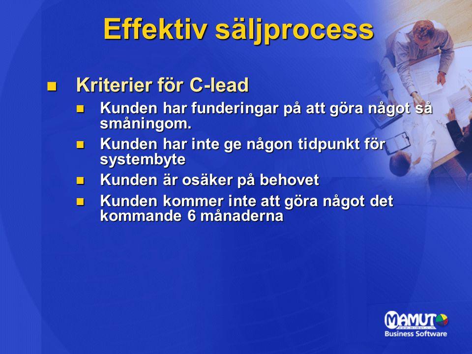 Effektiv säljprocess Kriterier för C-lead Kriterier för C-lead Kunden har funderingar på att göra något så småningom. Kunden har funderingar på att gö