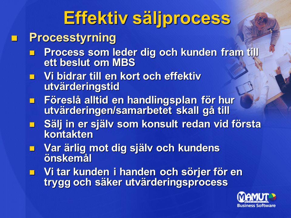 Effektiv säljprocess Processtyrning Processtyrning Process som leder dig och kunden fram till ett beslut om MBS Process som leder dig och kunden fram