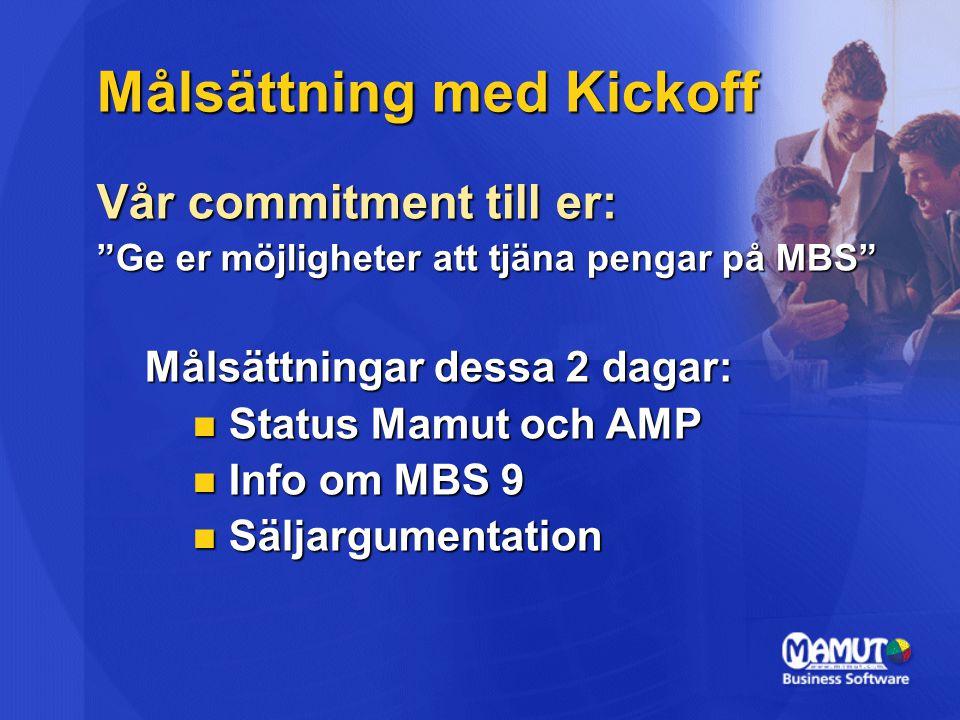 """Målsättning med Kickoff Vår commitment till er: """"Ge er möjligheter att tjäna pengar på MBS"""" Målsättningar dessa 2 dagar: Status Mamut och AMP Status M"""