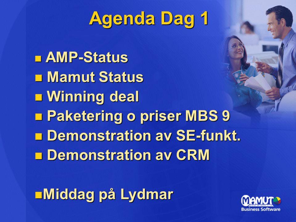 Agenda Dag 1 AMP-Status AMP-Status Mamut Status Mamut Status Winning deal Winning deal Paketering o priser MBS 9 Paketering o priser MBS 9 Demonstrati