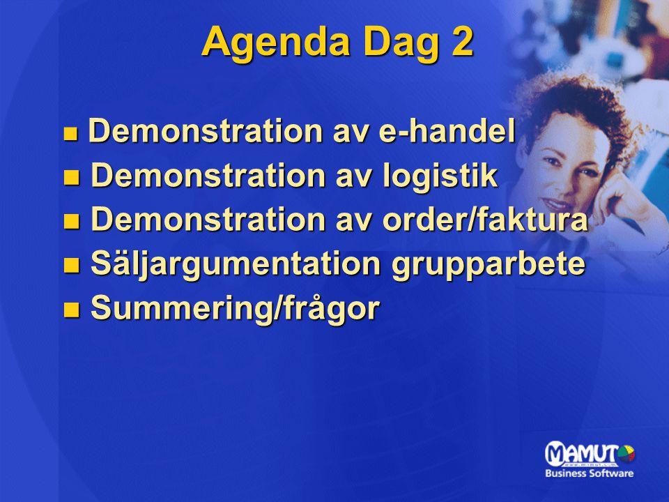 Agenda Dag 2 Demonstration av e-handel Demonstration av e-handel Demonstration av logistik Demonstration av logistik Demonstration av order/faktura De
