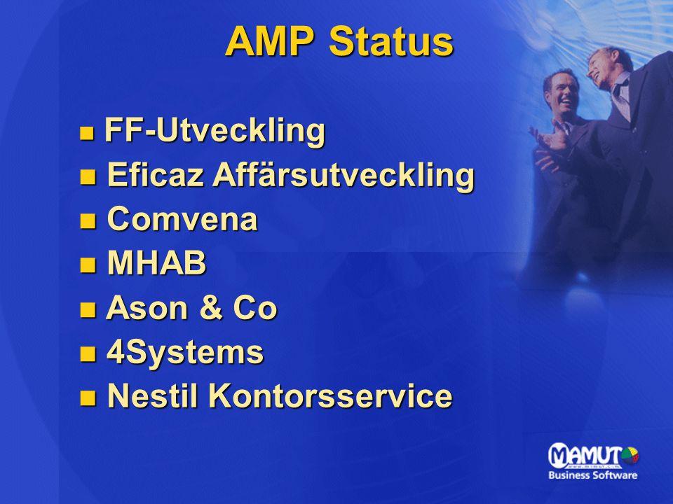 AMP Status FF-Utveckling FF-Utveckling Eficaz Affärsutveckling Eficaz Affärsutveckling Comvena Comvena MHAB MHAB Ason & Co Ason & Co 4Systems 4Systems