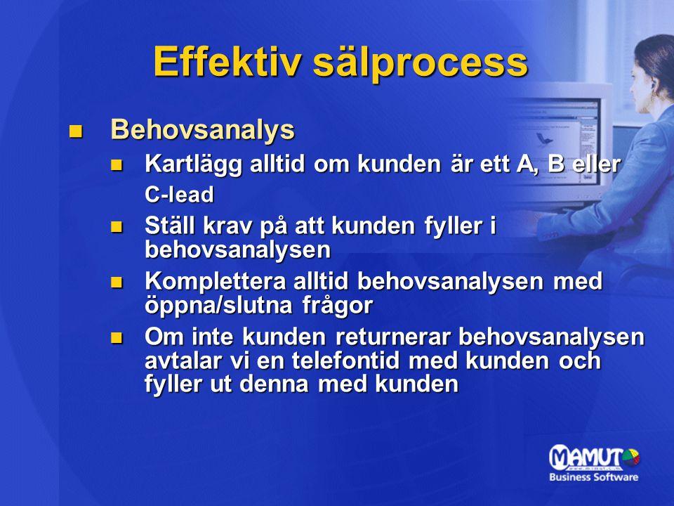 Effektiv sälprocess Behovsanalys Behovsanalys Kartlägg alltid om kunden är ett A, B eller Kartlägg alltid om kunden är ett A, B ellerC-lead Ställ krav