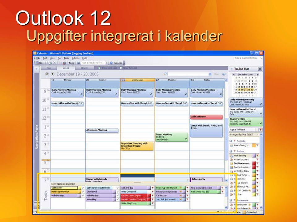 Outlook 12 Uppgifter integrerat i kalender
