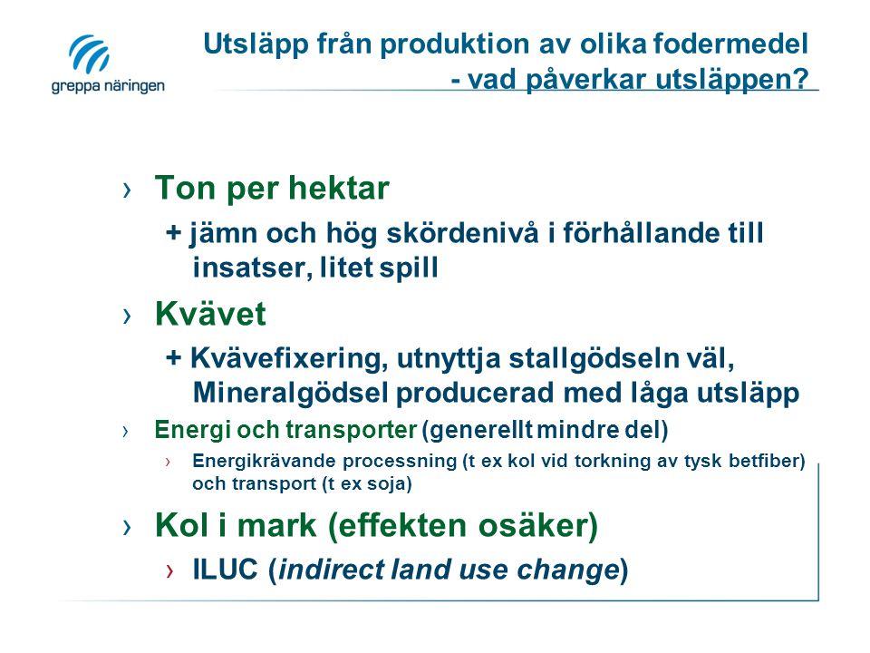 Utsläpp från produktion av olika fodermedel - vad påverkar utsläppen? ›Ton per hektar + jämn och hög skördenivå i förhållande till insatser, litet spi