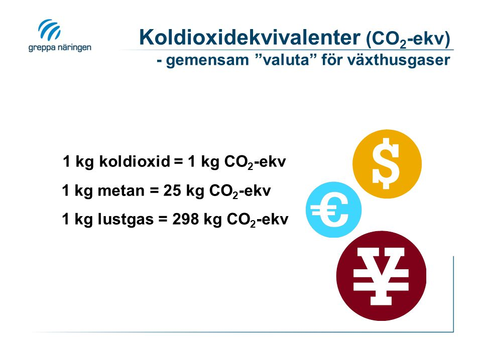 CO 2, N 2 O, CH 4 N2ON2O NH 3 Djurhållning, stallgödsel CH 4 NO 3 -, NH 3 Växtodling N2ON2ON2ON2OCO 2 Försålda varor Insatsvaror och inköpta tjänster Vad ingår?