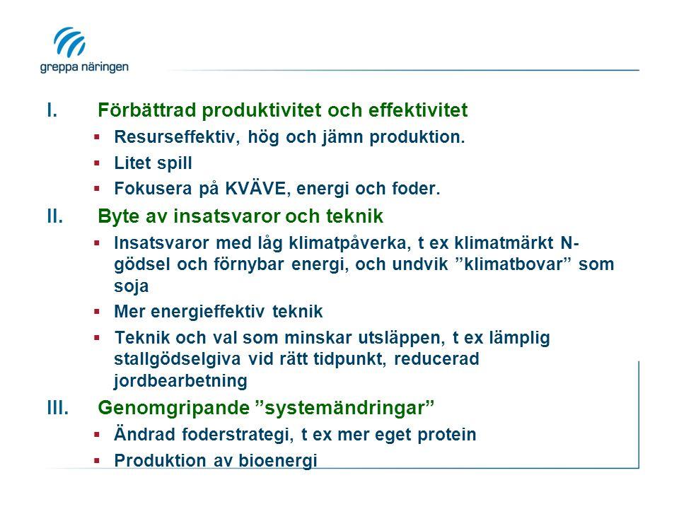 I.Förbättrad produktivitet och effektivitet  Resurseffektiv, hög och jämn produktion.
