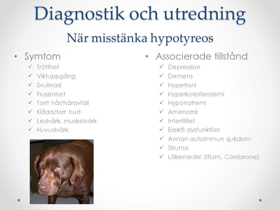 Diagnostik och utredning När misstänka hypotyreos Associerade tillstånd Depression Demens Hypertoni Hyperkolesterolemi Hyponatremi Amenorré Infertilit