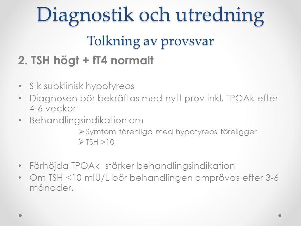 Diagnostik och utredning Tolkning av provsvar 2. TSH högt + fT4 normalt S k subklinisk hypotyreos Diagnosen bör bekräftas med nytt prov inkl. TPOAk ef