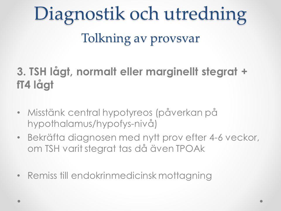 Diagnostik och utredning Tolkning av provsvar 3. TSH lågt, normalt eller marginellt stegrat + fT4 lågt Misstänk central hypotyreos (påverkan på hypoth