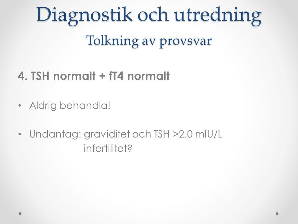 Diagnostik och utredning Tolkning av provsvar 4. TSH normalt + fT4 normalt Aldrig behandla! Undantag: graviditet och TSH >2.0 mIU/L infertilitet?