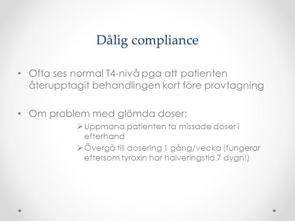 Dålig compliance Ofta ses normal T4-nivå pga att patienten återupptagit behandlingen kort före provtagning Om problem med glömda doser:  Uppmana pati