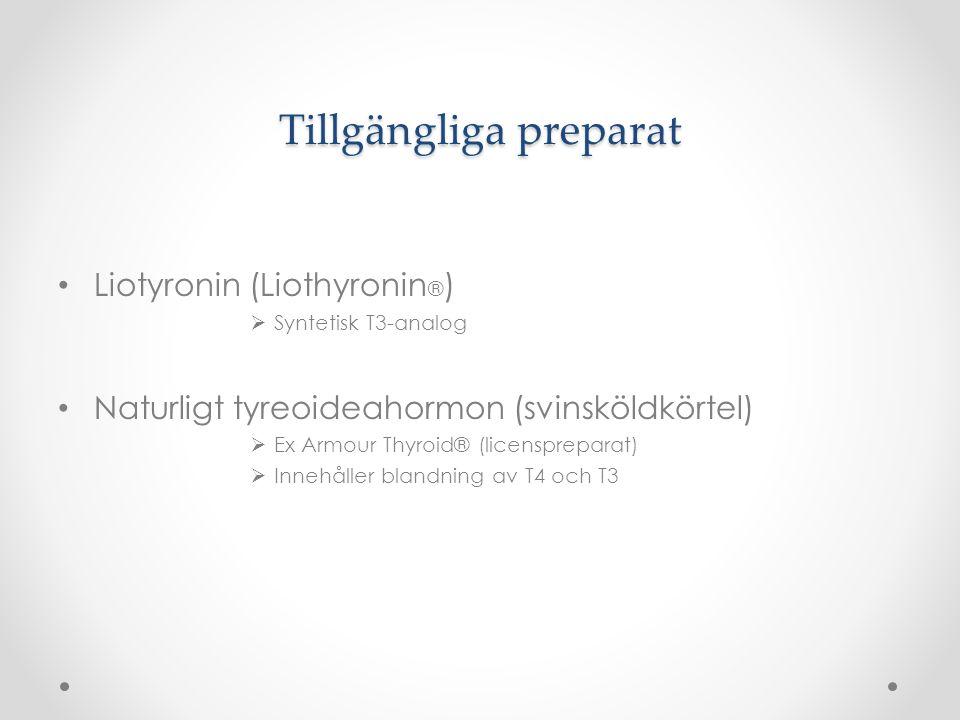 Tillgängliga preparat Liotyronin (Liothyronin ® )  Syntetisk T3-analog Naturligt tyreoideahormon (svinsköldkörtel)  Ex Armour Thyroid® (licensprepar