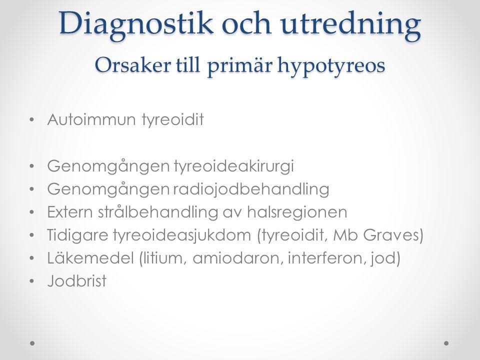 Diagnostik och utredning Orsaker till primär hypotyreos Autoimmun tyreoidit Genomgången tyreoideakirurgi Genomgången radiojodbehandling Extern strålbe