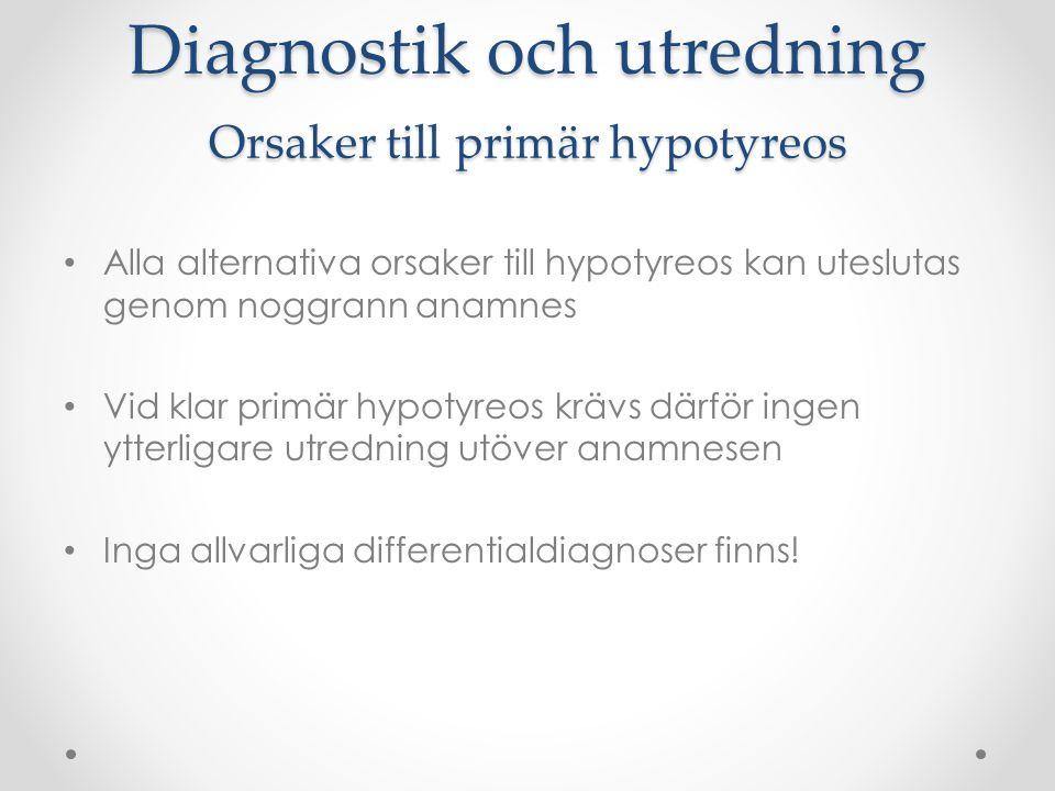 Diagnostik och utredning Orsaker till primär hypotyreos Alla alternativa orsaker till hypotyreos kan uteslutas genom noggrann anamnes Vid klar primär