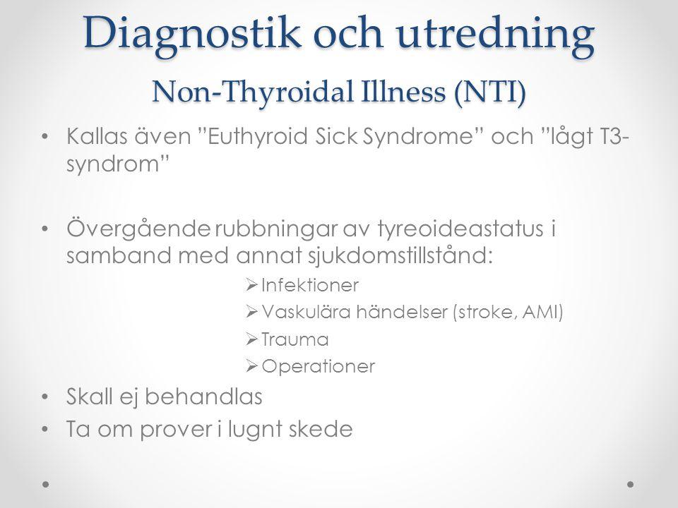 """Diagnostik och utredning Non-Thyroidal Illness (NTI) Kallas även """"Euthyroid Sick Syndrome"""" och """"lågt T3- syndrom"""" Övergående rubbningar av tyreoideast"""