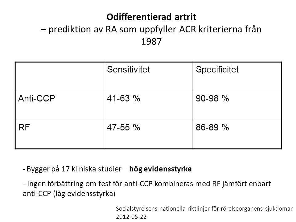 Odifferentierad artrit – prediktion av RA som uppfyller ACR kriterierna från 1987 SensitivitetSpecificitet Anti-CCP41-63 %90-98 % RF47-55 %86-89 % - B