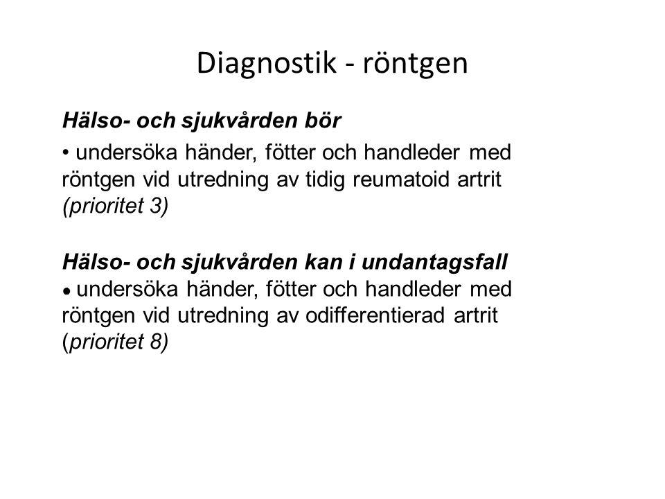 Diagnostik - röntgen Hälso- och sjukvården bör undersöka händer, fötter och handleder med röntgen vid utredning av tidig reumatoid artrit (prioritet 3) Hälso- och sjukvården kan i undantagsfall ● undersöka händer, fötter och handleder med röntgen vid utredning av odifferentierad artrit (prioritet 8)