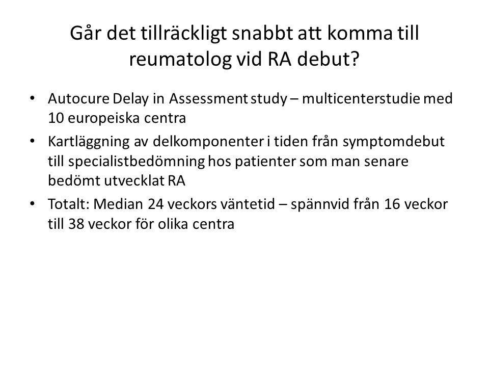 Går det tillräckligt snabbt att komma till reumatolog vid RA debut? Autocure Delay in Assessment study – multicenterstudie med 10 europeiska centra Ka