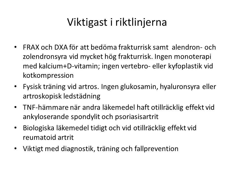 Viktigast i riktlinjerna FRAX och DXA för att bedöma frakturrisk samt alendron- och zolendronsyra vid mycket hög frakturrisk. Ingen monoterapi med kal