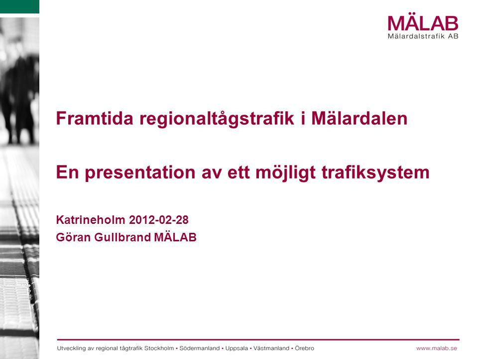 Framtida regionaltågstrafik i Mälardalen En presentation av ett möjligt trafiksystem Katrineholm 2012-02-28 Göran Gullbrand MÄLAB